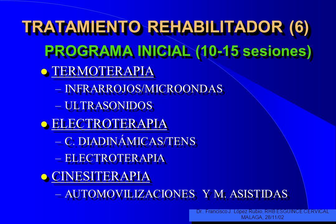 TRATAMIENTO REHABILITADOR (6) PROGRAMA INICIAL (10-15 sesiones) l TERMOTERAPIA –INFRARROJOS/MICROONDAS –ULTRASONIDOS l ELECTROTERAPIA –C.