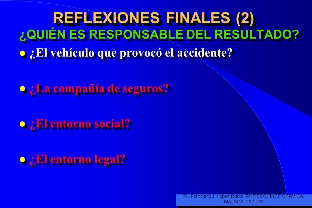 REFLEXIONES FINALES (2) ¿QUIÉN ES RESPONSABLE DEL RESULTADO.