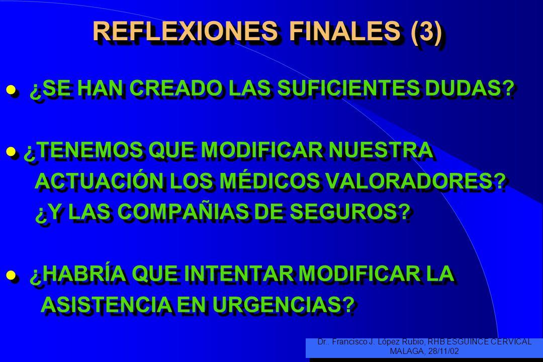REFLEXIONES FINALES (3) l ¿SE HAN CREADO LAS SUFICIENTES DUDAS.