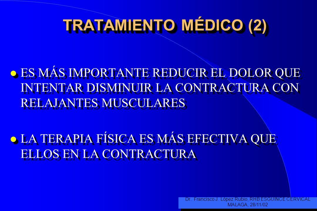 TRATAMIENTO MÉDICO (2) l ES MÁS IMPORTANTE REDUCIR EL DOLOR QUE INTENTAR DISMINUIR LA CONTRACTURA CON RELAJANTES MUSCULARES l LA TERAPIA FÍSICA ES MÁS EFECTIVA QUE ELLOS EN LA CONTRACTURA l ES MÁS IMPORTANTE REDUCIR EL DOLOR QUE INTENTAR DISMINUIR LA CONTRACTURA CON RELAJANTES MUSCULARES l LA TERAPIA FÍSICA ES MÁS EFECTIVA QUE ELLOS EN LA CONTRACTURA Dr..