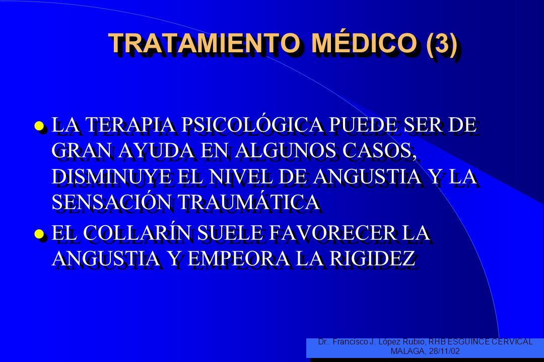 TRATAMIENTO MÉDICO (3) l LA TERAPIA PSICOLÓGICA PUEDE SER DE GRAN AYUDA EN ALGUNOS CASOS, DISMINUYE EL NIVEL DE ANGUSTIA Y LA SENSACIÓN TRAUMÁTICA l EL COLLARÍN SUELE FAVORECER LA ANGUSTIA Y EMPEORA LA RIGIDEZ l LA TERAPIA PSICOLÓGICA PUEDE SER DE GRAN AYUDA EN ALGUNOS CASOS, DISMINUYE EL NIVEL DE ANGUSTIA Y LA SENSACIÓN TRAUMÁTICA l EL COLLARÍN SUELE FAVORECER LA ANGUSTIA Y EMPEORA LA RIGIDEZ Dr..