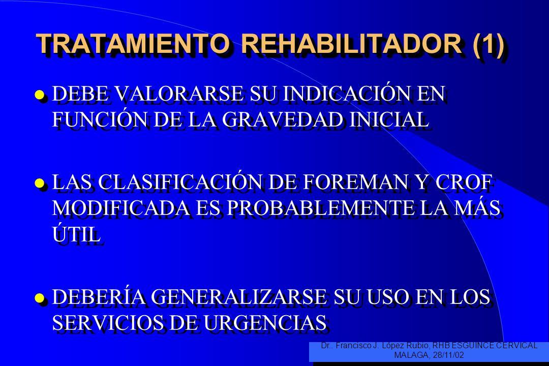 TRATAMIENTO REHABILITADOR (1) l DEBE VALORARSE SU INDICACIÓN EN FUNCIÓN DE LA GRAVEDAD INICIAL l LAS CLASIFICACIÓN DE FOREMAN Y CROF MODIFICADA ES PROBABLEMENTE LA MÁS ÚTIL l DEBERÍA GENERALIZARSE SU USO EN LOS SERVICIOS DE URGENCIAS l DEBE VALORARSE SU INDICACIÓN EN FUNCIÓN DE LA GRAVEDAD INICIAL l LAS CLASIFICACIÓN DE FOREMAN Y CROF MODIFICADA ES PROBABLEMENTE LA MÁS ÚTIL l DEBERÍA GENERALIZARSE SU USO EN LOS SERVICIOS DE URGENCIAS Dr..
