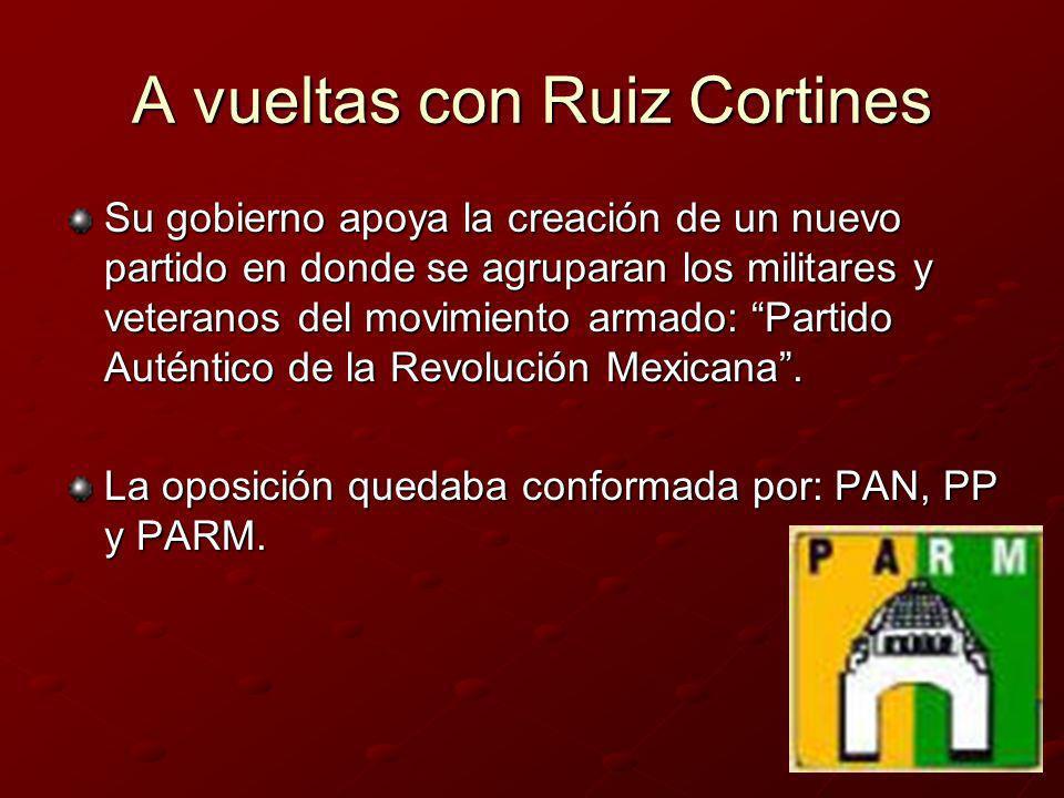 Ruiz Cortines Sus propósitos: la unificación nacional, un gobierno honesto y la disminución del costo de la vida.