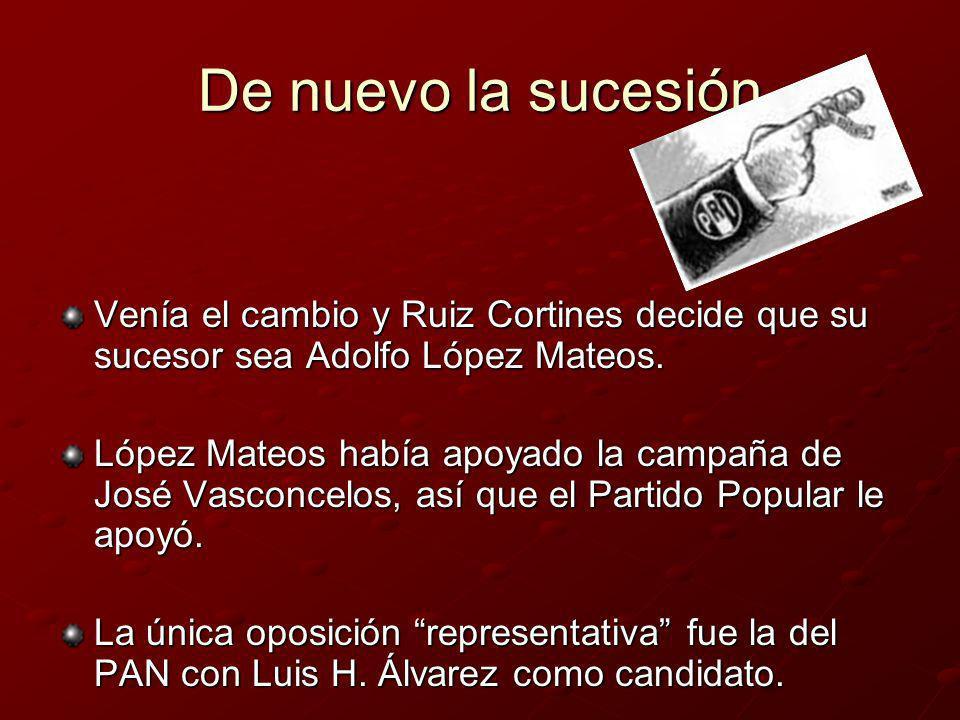 Resultados en 1958 López Mateos obtiene un triunfo rotundo: - De 7,483,403 de votos obtiene el 90.43% y Álvarez el 9.42%.
