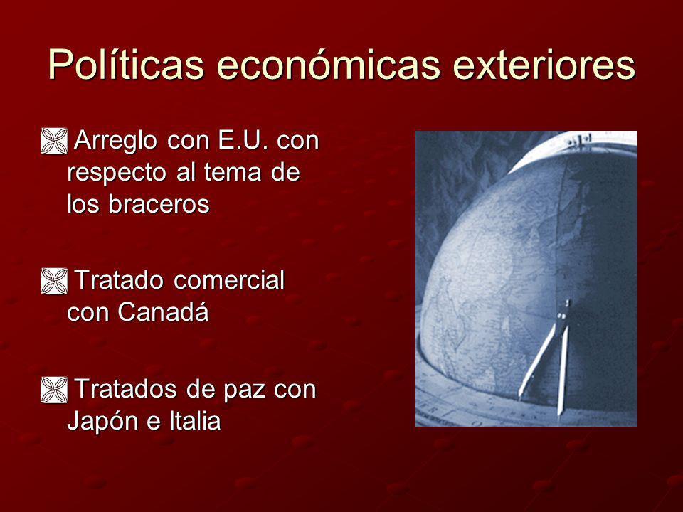 Adolfo Ruiz Cortines (1952-1958) Exenciones y disminuciones de impuestos Exenciones y disminuciones de impuestos Promulgación de la Ley de fomento de industrias de la transformación.