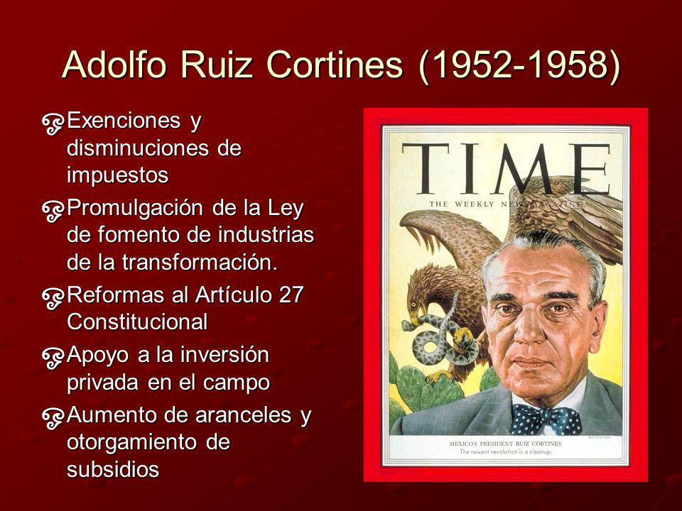 Carácterísticas económicas de este periodo… En 1955: se promulga la Ley para el Fomento de las Industrias Nuevas y Necesarias.