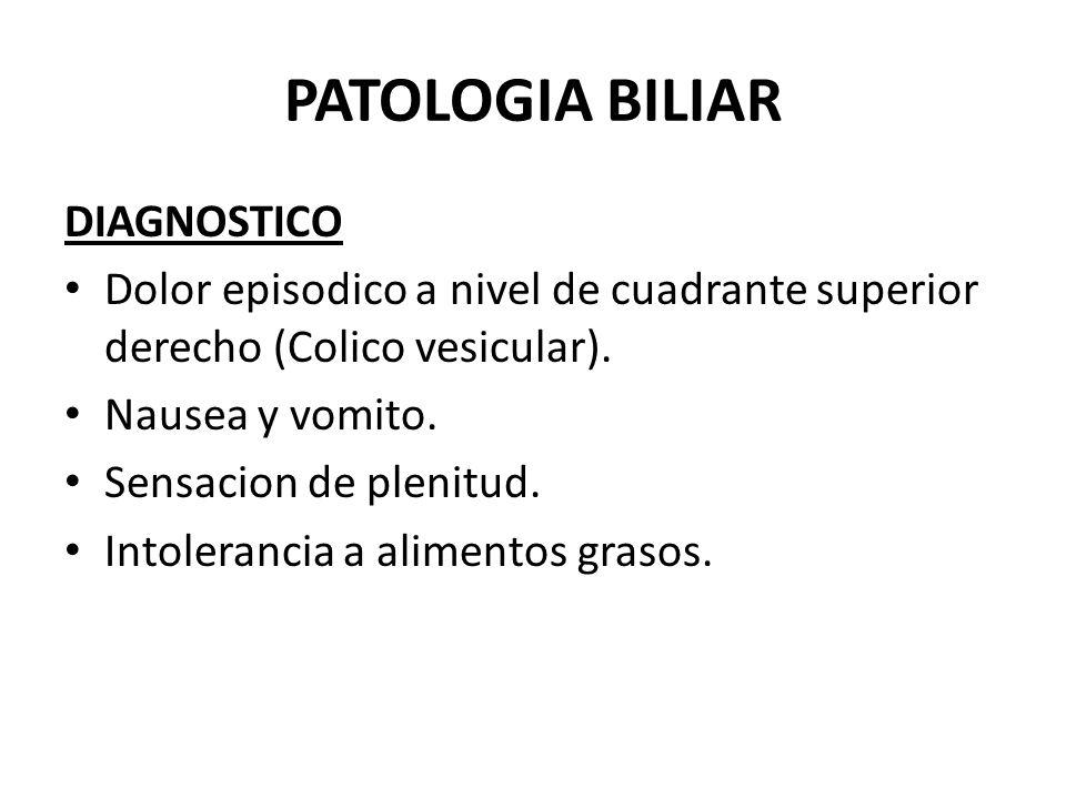 PATOLOGIA BILIAR COLECISTITIS CRONICA Dx diferencial: RGE, Ulcera peptica, pancreatitis, pielonefritis der.