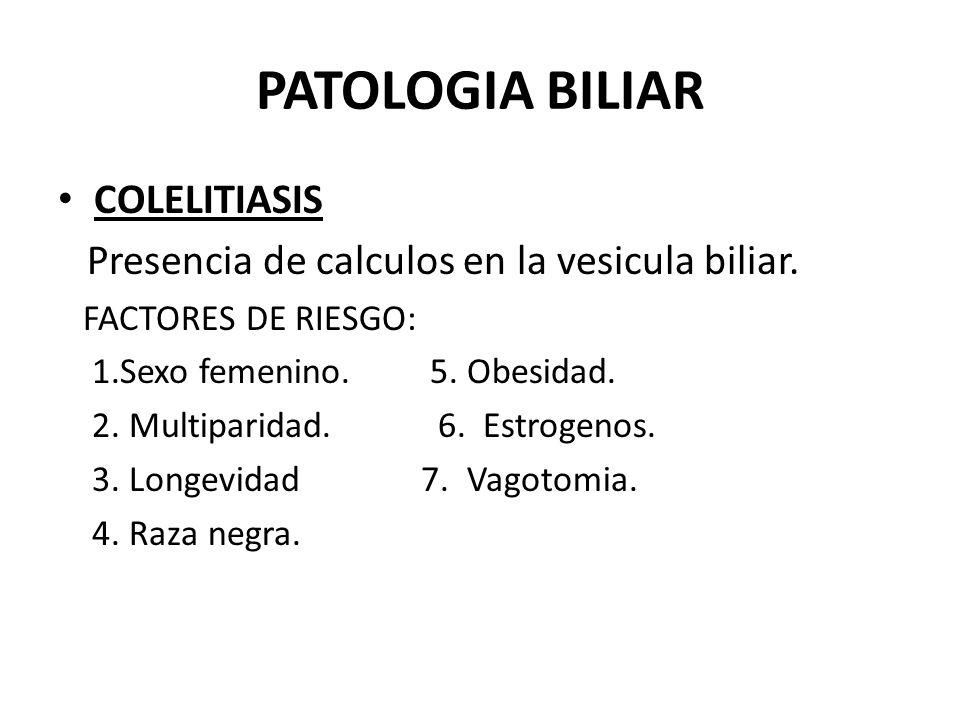 PATOLOGIA BILIAR TIPOS DE CALCULOS: Predominantemente de colesterol. Pigmentados. Mixtos.