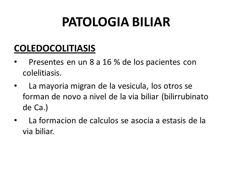 PATOLOGIA BILIAR COLICO VESICULAR Dolor producido por movimientos vesiculares que tratan de vencer obstruccion producida por calculo.