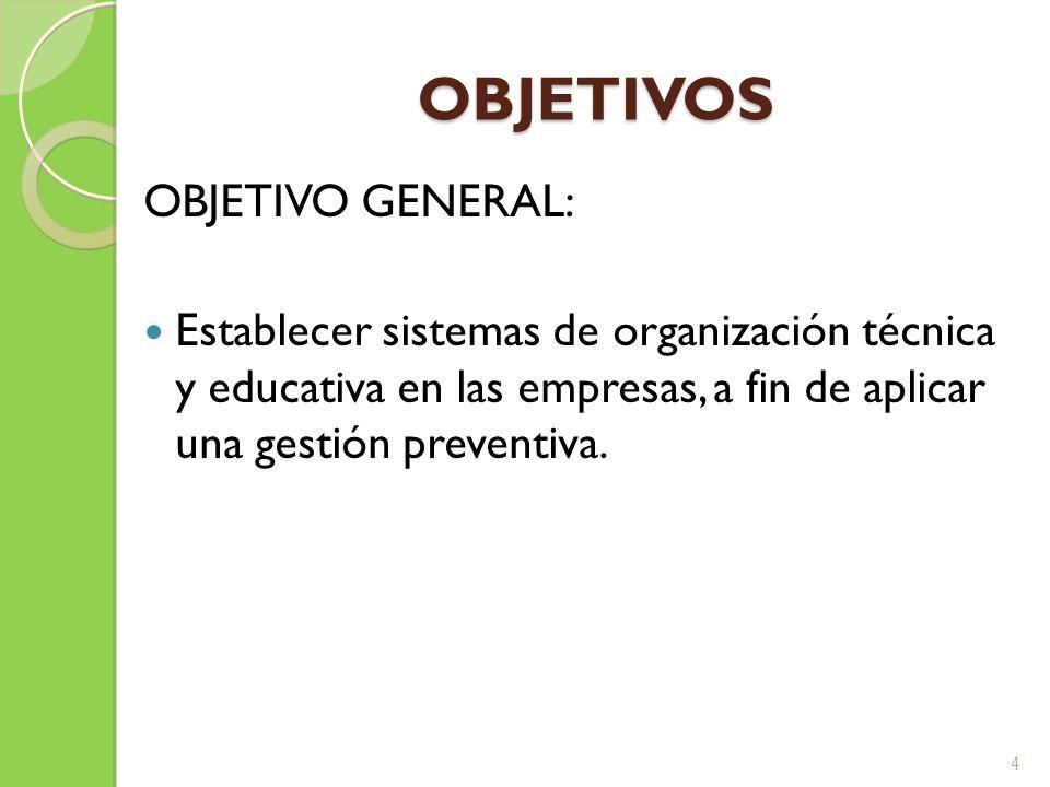 OBJETIVOS ESPECÍFICOS: Definir la estructura, responsabilidades y recursos requeridos por la empresa para la prevención de riesgos.