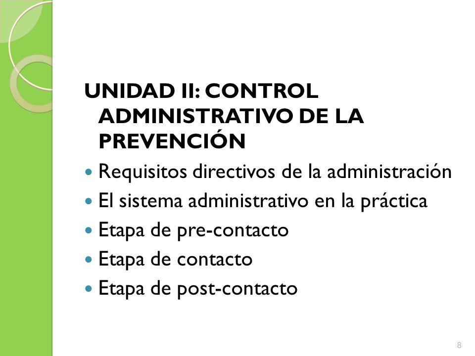 UNIDAD III: ACTIVIDADES DE LA GESTIÓN PREVENTIVA Métodos de reconocimiento de riesgos Evaluación y análisis de riesgos Adopción de medidas de control Control de cumplimiento de las medidas adoptadas 9