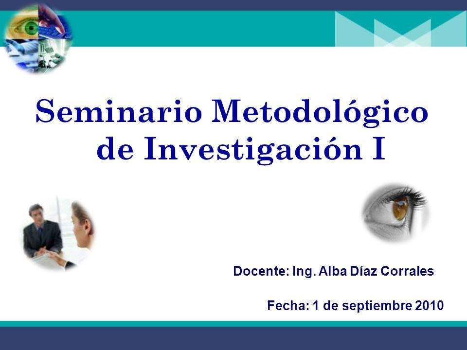 Seminario Metodológico de Investigación I Docente: Ing.