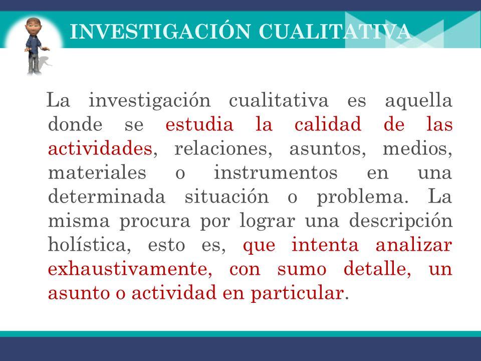 INVESTIGACIÓN CUALITATIVA La investigación cualitativa es aquella donde se estudia la calidad de las actividades, relaciones, asuntos, medios, materiales o instrumentos en una determinada situación o problema.