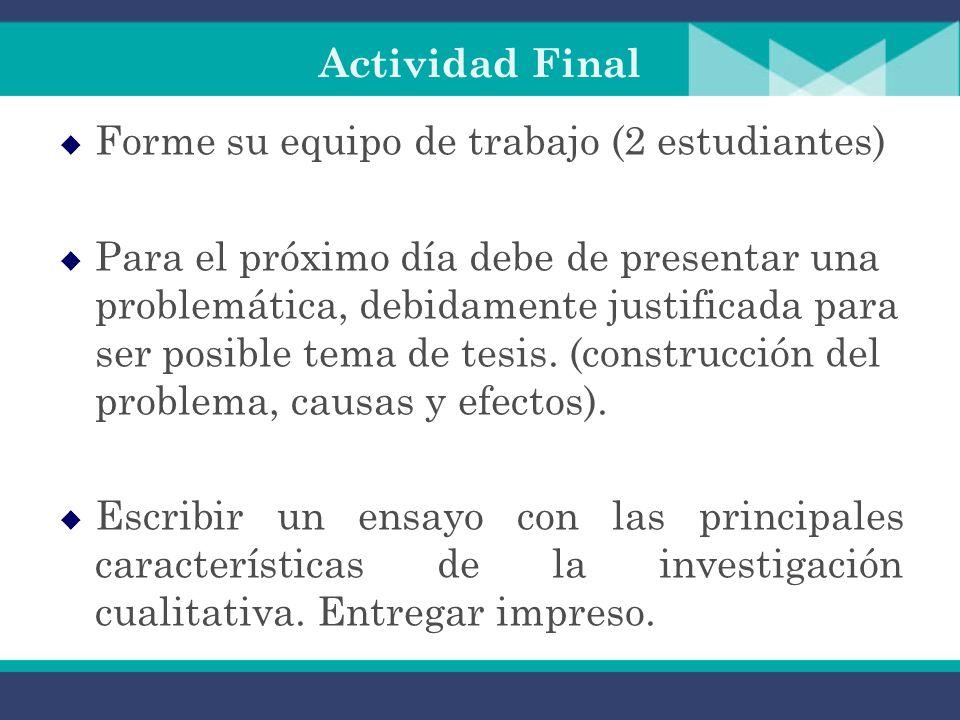 Actividad Final Forme su equipo de trabajo (2 estudiantes) Para el próximo día debe de presentar una problemática, debidamente justificada para ser posible tema de tesis.