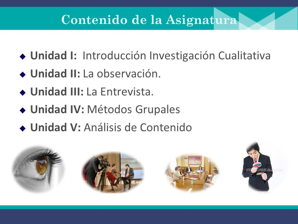 Contenido de la Asignatura Unidad I: Introducción Investigación Cualitativa Unidad II: La observación.
