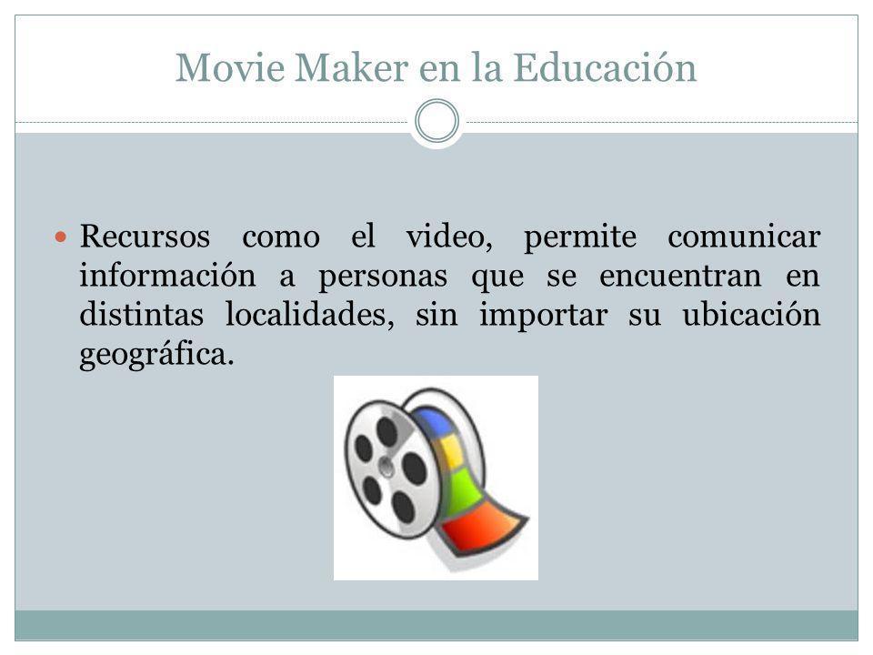 Movie Maker es un recurso multimedia que se puede aprovechar para orientar el aprendizaje en la educación tanto presencial como a distancia, combinando las tecnologías digitales con contenidos audiovisuales y otros recursos comunicativos.