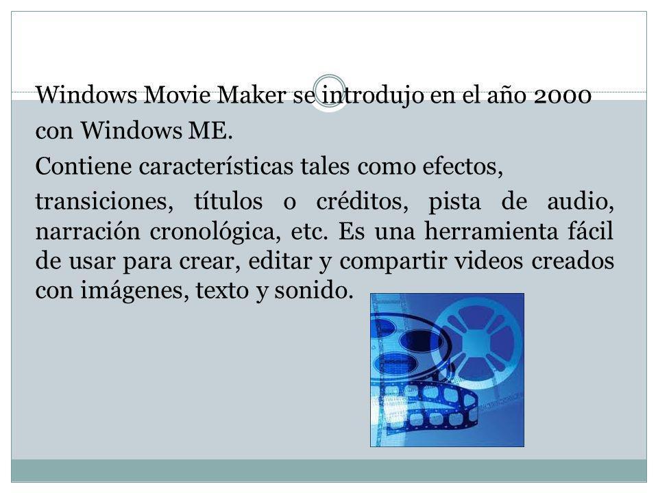 Movie Maker sirve para la edición doméstica de vídeos aunque también se puede utilizar para crear pequeñas películas usando como fotogramas fotografías en formato digital.