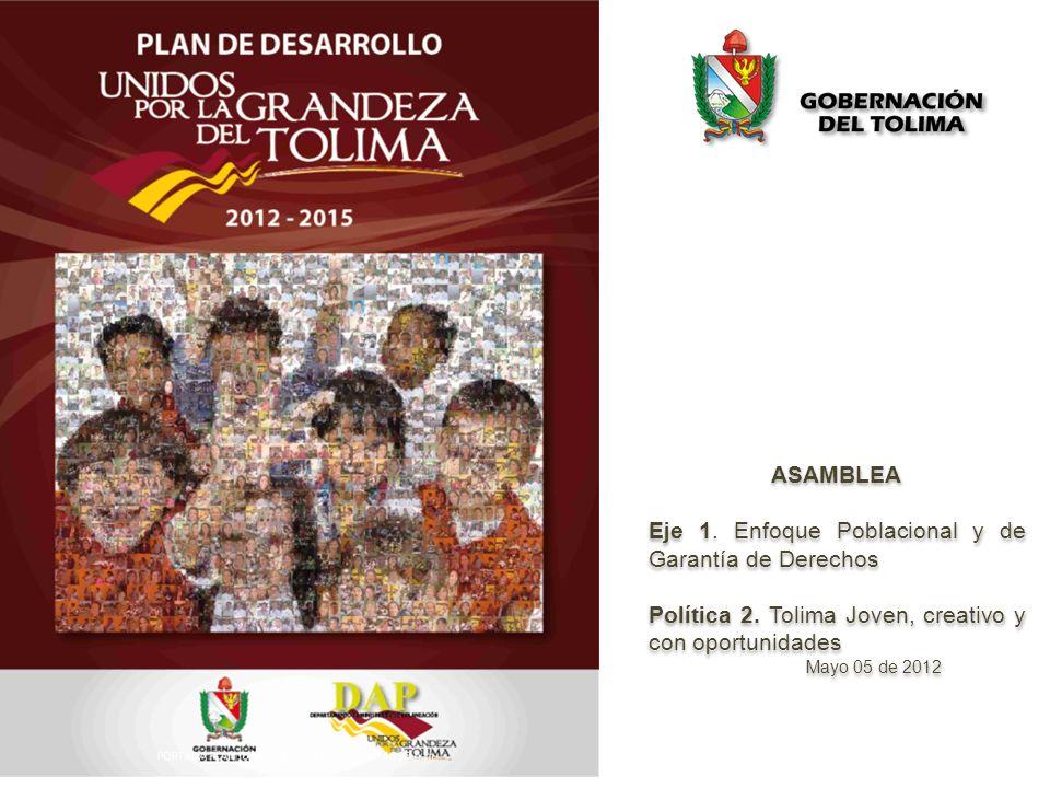 El objetivo principal de la política Tolima joven, creativo y con oportunidades Implementar acciones orientadas a mejorar la calidad de los y las jóvenes del Departamento, propiciando el desarrollo de sus capacidades y potencialidades, ofreciendo oportunidades en el campo y la ciudad, y facilitando la inclusión y la equidad.