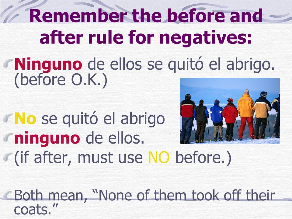 Remember the before and after rule for negatives: Ninguno de ellos se quitó el abrigo.