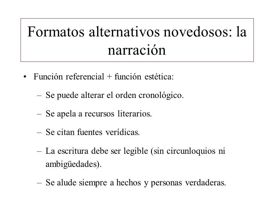 Formatos alternativos novedosos: la narración Cita de fuentes.