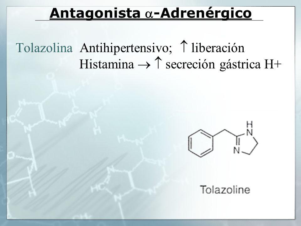 Antagonista 1 selectivo Prazosina (Minipres) Afinidad 1.000 veces mayor por 1 que 2 y similar para 1A, 1B y 1D.