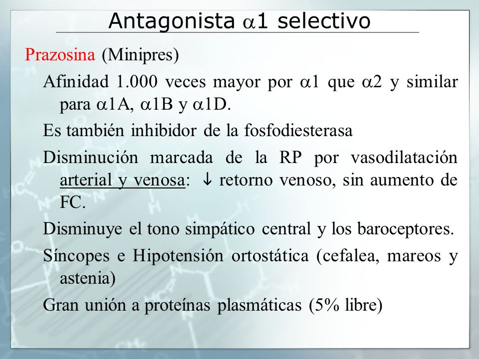 Antagonista -Adrenérgico Prazosin Antagonista 1-Adrenérgico (Hiperplasia Prostática Benigna)