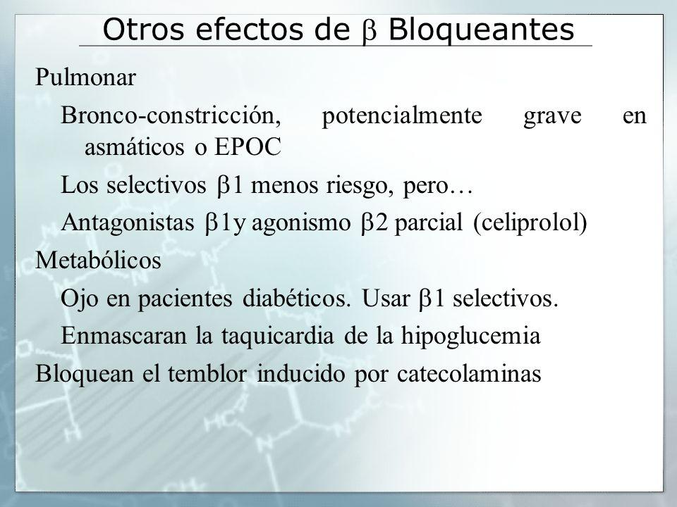 Bloqueantes NO selectivos Propranolol (sumial).Muy lipofílico y muy buena absorción oral.