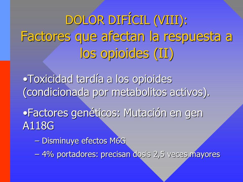 DOLOR DIFÍCIL (IX): Factores que afectan la respuesta a los opioides (III) Espectro diferencial de los distintos opioides:Espectro diferencial de los distintos opioides: –Metadona: agonista µ, δ; antagonista NMDA.