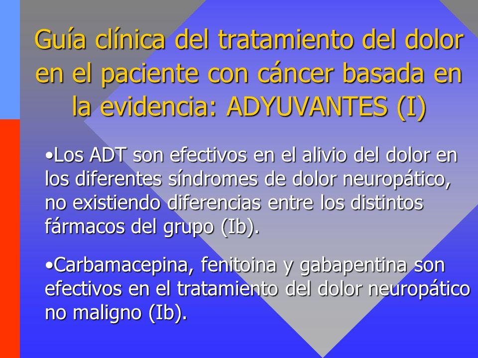 Guía clínica del tratamiento del dolor en el paciente con cáncer basada en la evidencia: ADYUVANTES (II) La gabapentina ha demostrado su eficacia en ensayos clínicos controlados (Ia).La gabapentina ha demostrado su eficacia en ensayos clínicos controlados (Ia).