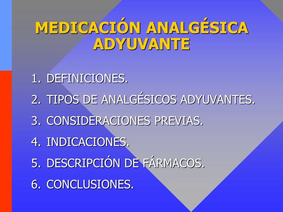 Fármacos adyuvantes: definiciones CoanalgésicosCoanalgésicos –Fármacos con acción analgésica demostrada, pero con indicación diferente.