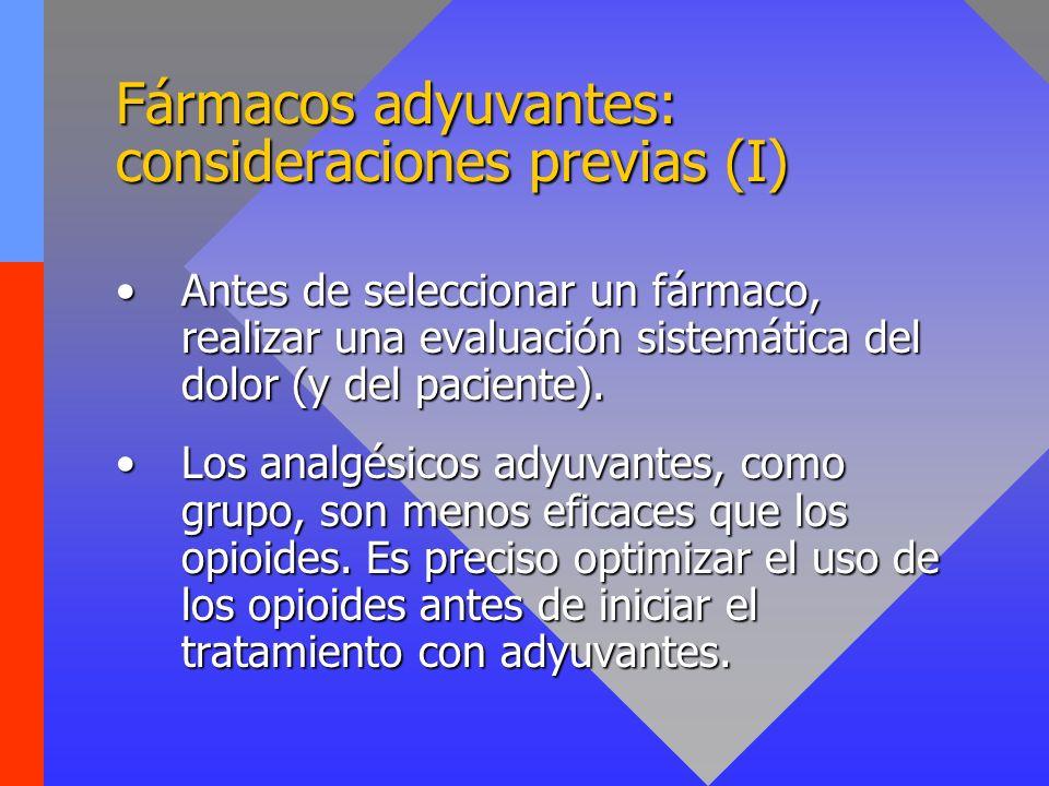 Fármacos adyuvantes: consideraciones previas (II) Existen pocos estudios controlados acerca del uso de analgésicos adyuvantes en Cuidados Paliativos: ¡Precaución!Existen pocos estudios controlados acerca del uso de analgésicos adyuvantes en Cuidados Paliativos: ¡Precaución.