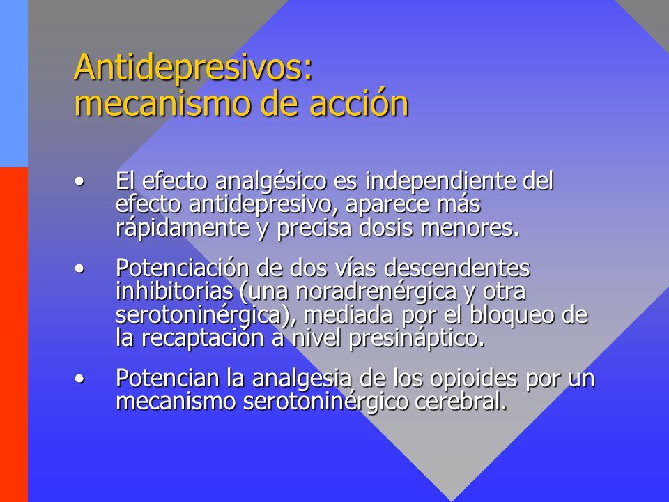 Antidepresivos: efectos secundarios Efectos anticolinérgicos: boca seca, estreñimiento, retención urinaria, íleo paralítico.Efectos anticolinérgicos: boca seca, estreñimiento, retención urinaria, íleo paralítico.