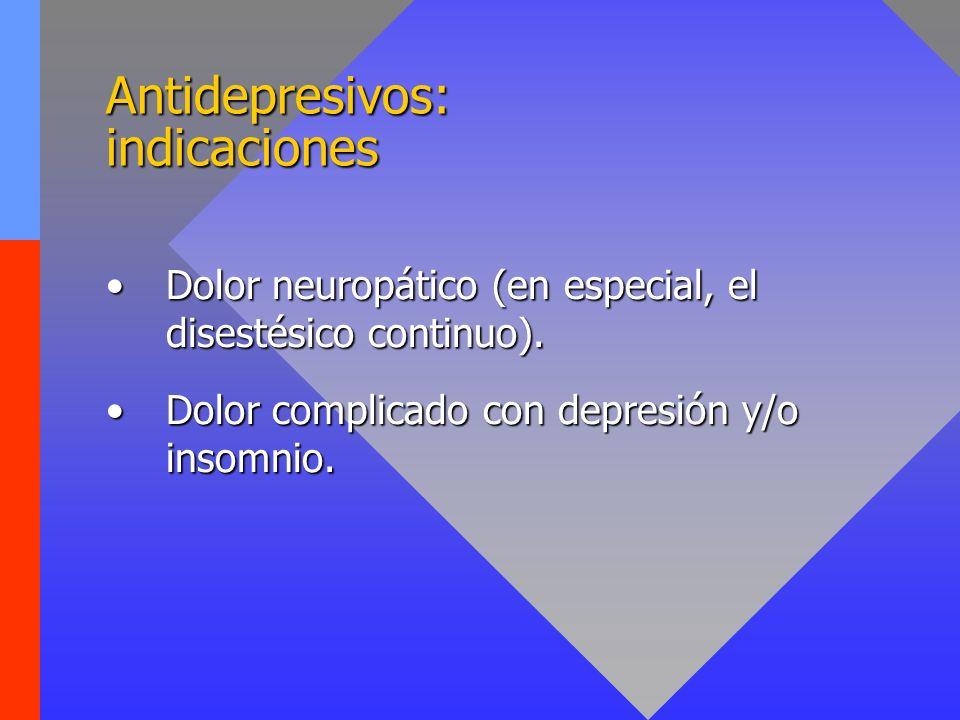 Antidepresivos: tipos Tricíclicos (ADT)HeterocíclicosISRS/ISRSN 1.Amitriptilina (Tryptizol ) 2.Dotiepina (Prothiaden ) 3.Doxepina (Sinequan ) 4.Imipramina (Tofranil ) 5.Trimipramina (Surmontil ) 6.Lofepramina (Deftan ) 7.Nortriptilina (Martimil ) 1.Amoxapina (Demolox ) 2.Trazodona (Deprax ) 3.Maprotilina (Ludiomil ) 4.Mianserina (Lantanon ) 5.Mirtazapina (Rexer ) 1.Citalopram (Prisdal ) 2.Fluoxetina (Prozac ) 3.Fluvoxamina (Dumirox ) 4.Nefazodona (Rulivan ) 5.Paroxetina (Seroxat ) 6.Sertralina (Besitrán ) 7.Venlafaxina (Dobupal ) 8.Duloxetina (Cymbalta®) IMAO: - Graves riesgos cardiovasculares.