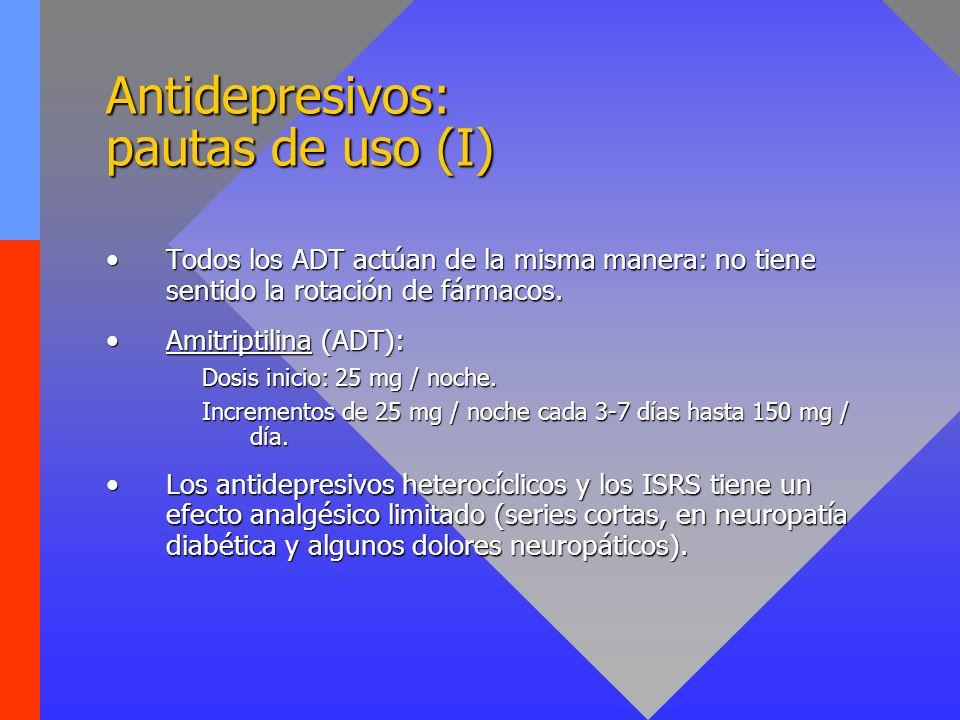 Antidepresivos: pautas de uso (II) Paroxetina: eficaz en prurito severo.Paroxetina: eficaz en prurito severo.