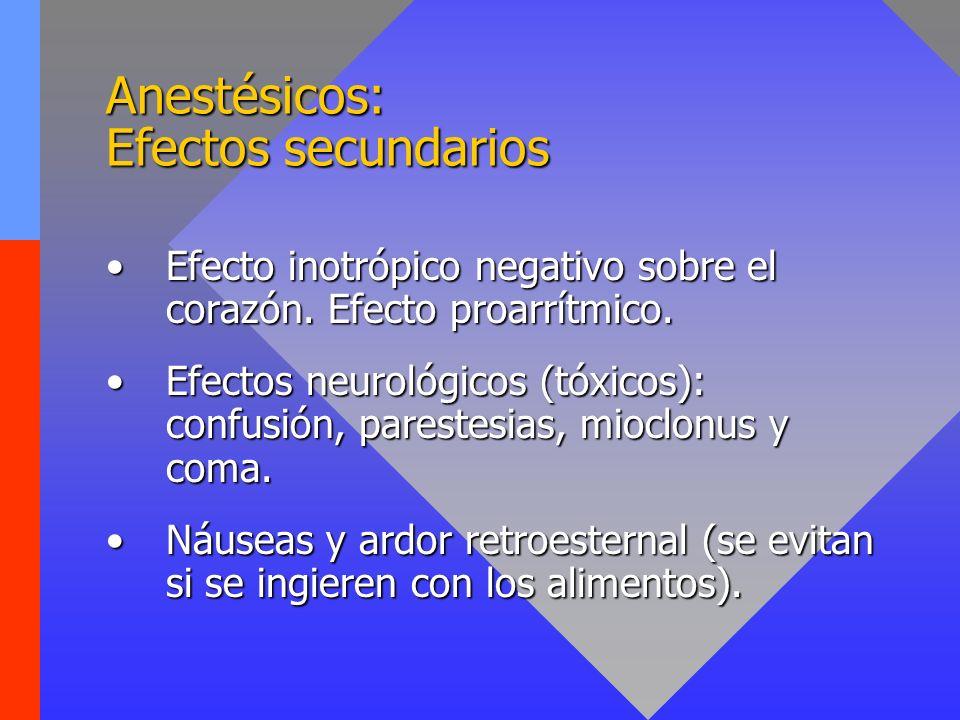 Anestésicos: Indicaciones Dolor neuropático refractario a corticoides, antidepresivos y anticonvulsivantes.Dolor neuropático refractario a corticoides, antidepresivos y anticonvulsivantes.