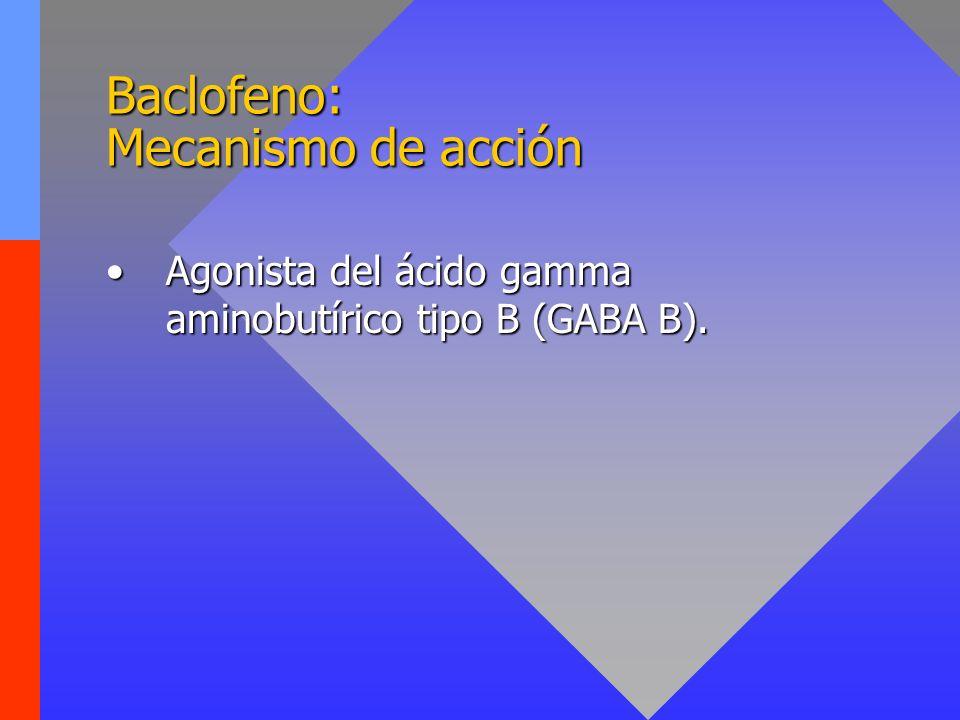 Baclofeno: Efectos secundarios Vértigo, somnolencia.Vértigo, somnolencia.