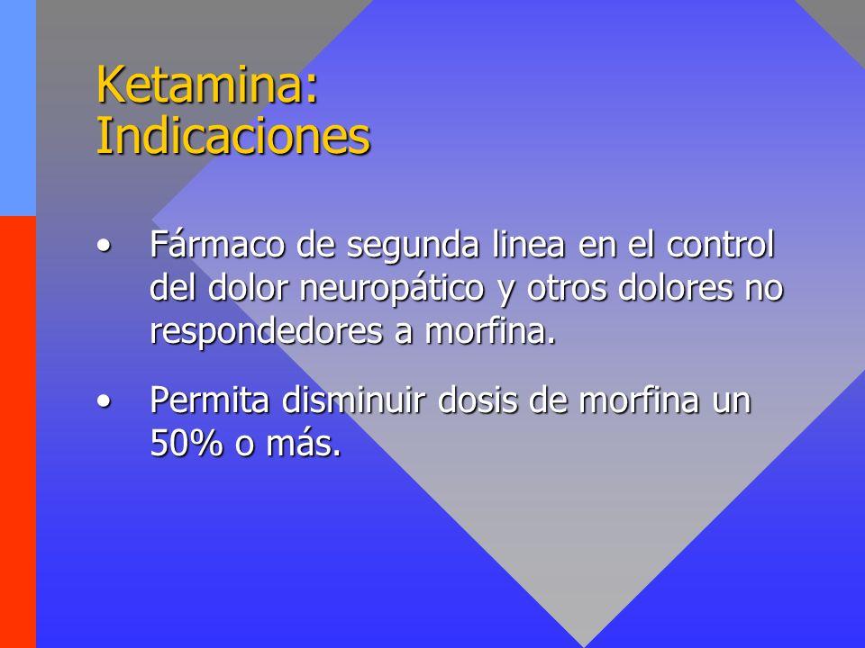 Ketamina: Pautas de uso KETOLAR Viales de 10, 50, 100 mg/ml Infusión SC o IV: 0,1- 1 mg /kg /hora.Infusión SC o IV: 0,1- 1 mg /kg /hora.