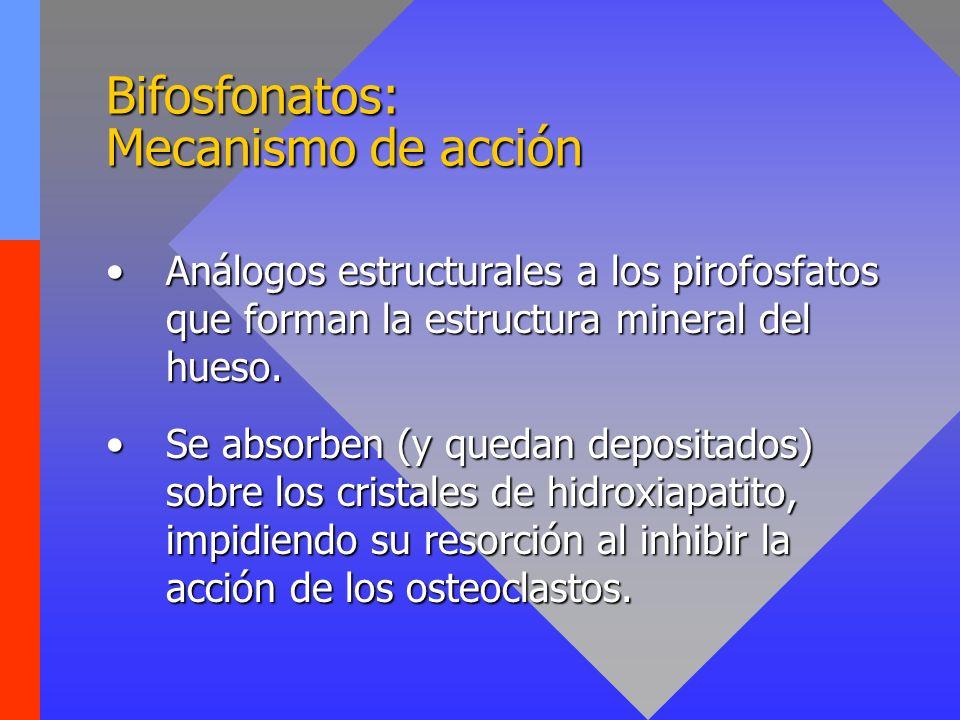 Bifosfonatos: Efectos secundarios Náuseas, diarrea (tras administarción oral).Náuseas, diarrea (tras administarción oral).