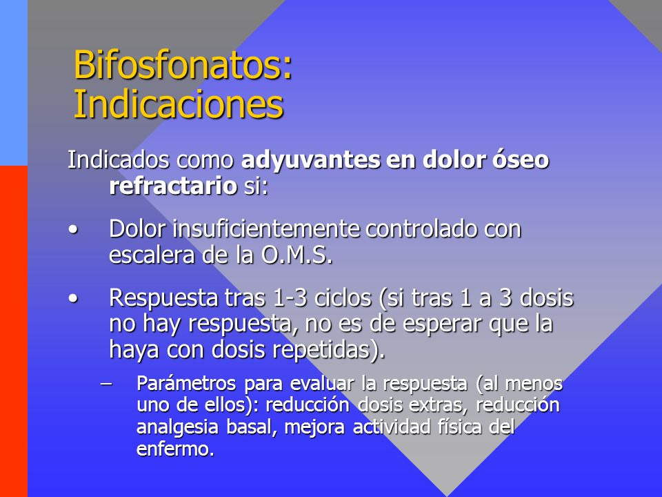 Bifosfonatos: Pautas de uso Administración parenteral preferiblemente: Pamidronato (Aredia®):Pamidronato (Aredia®): 90 mg IV (2 horas) /3-4 semanas (de 2 a 4 meses).