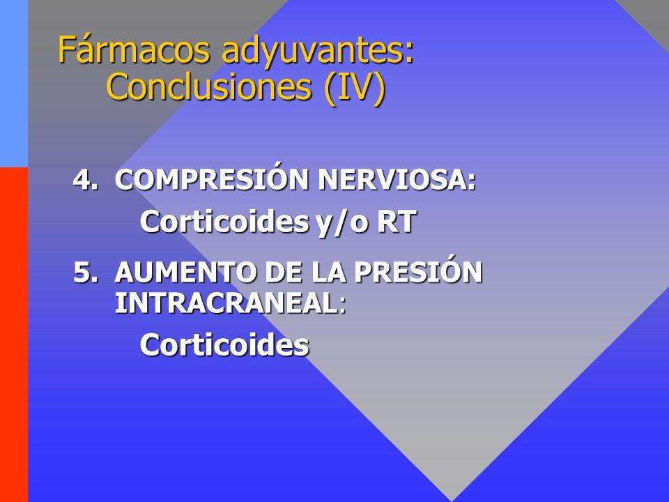 Fármacos adyuvantes: Conclusiones (V) 6.Dolor neuropático disestésico continuo: 1º Antidepresivos y/o anticonvulsivantes 2º Antagonistas receptores NMDA: Ketamina 3º Otros: Baclofeno, anestésicos...