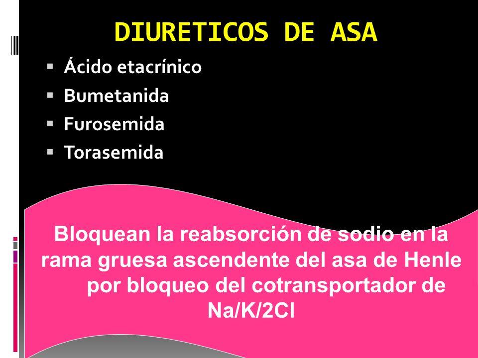 DIURETICOS AHORRADORES DE POTASIO Amilorida Triamtereno Acción debil en monoterapia Inhiben la reabsorción de Na + y la secreción de iones de potasio Bloquean el canal epitelial de Na+ en el túbulo contorneado distal El sodio que no es reabsorbido se intercambia por H+ y K+, siendo absorbidos ambos iones, con lo cual se produce el ahorro de potasio.