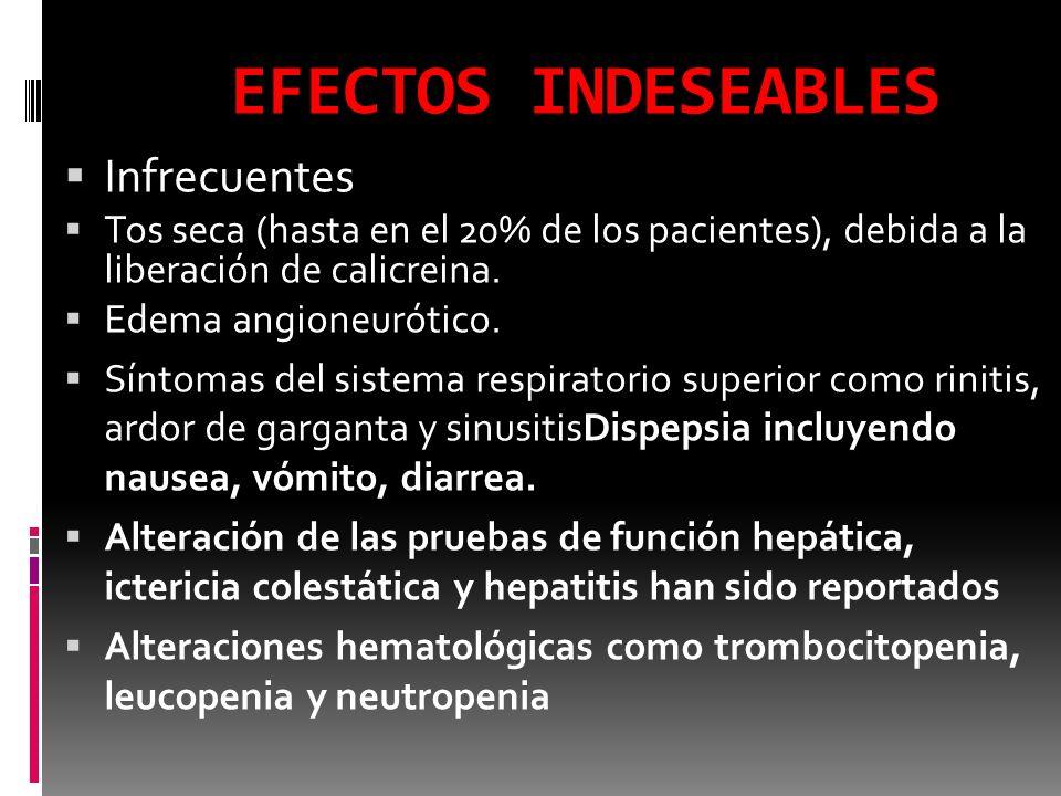 Precauciones Como estos fármacos producen vasodilatación en las arteriolas eferentes del riñón, pueden deteriorar la función renal de pacientes con hipoperfusión renal o insuficiencia renal grave preexistente Pueden causar hiperpotasiemia y deben ser administrados con cautela a pacientes con disminución de la tasa de filtración glomerular (FG), o que están tomando suplementos de potasio o que son tratados con diuréticos ahorradores de potasio.