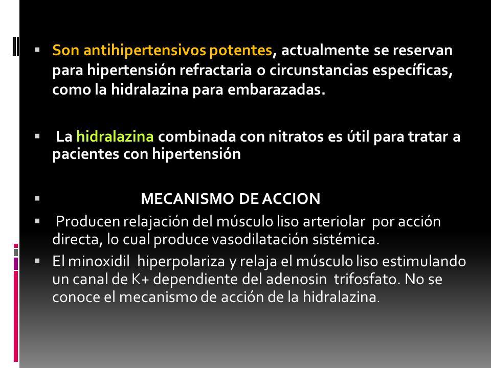 Efectos indeseables Hidralazina: Cefalea, náuseas, vómitos,taquicardia e hipotensión postural.