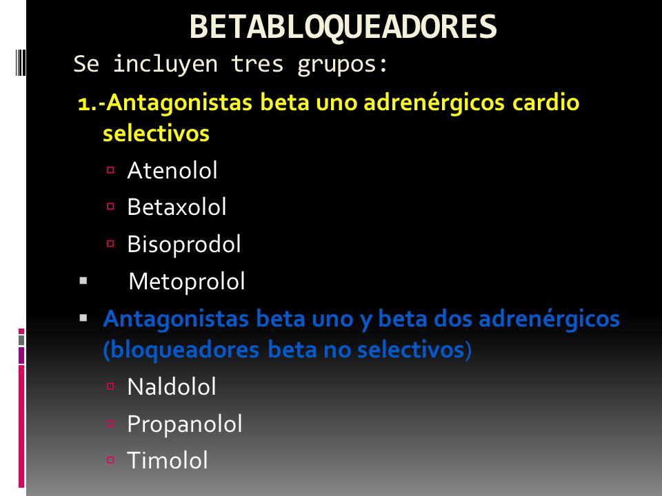 Antagonistas beta uno adrenérgicos con actividad simpaticomimética intrínseca Acebutol Penbutol Pindolol Los beta bloqueadores actúan por inhibición competitivamente de los efectos de las catecolaminas en los receptores beta adrenérgicos y : Disminuyen : Frecuencia cardíaca ;gasto cardíaco y sintesis de renina por los riñones disminuye su nivel plasmático Inducen un reajuste de los barorreceptores para que acepten niveles más bajos de PA.