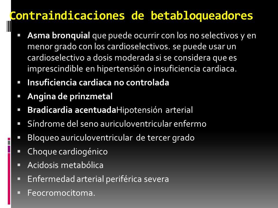 Contraindicaciones de los betabloqueadores Hipotensión arterial Síndrome del seno auriculoventricular enfermo Bloqueo auriculoventricular de tercer grado Choque cardiogénico Acidosis metabólica Enfermedad arterial periférica severa Feocromocitoma.
