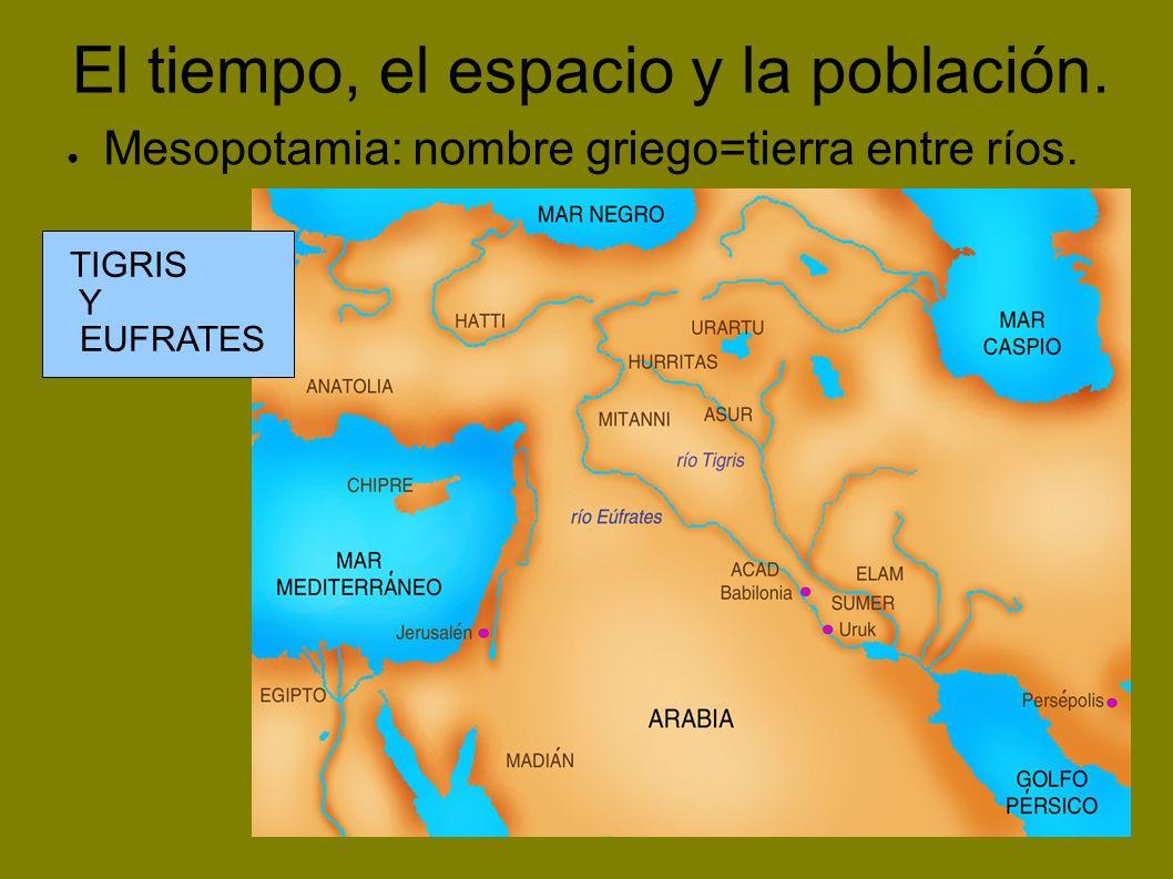 El tiempo, el espacio y la población.Los ríos Tigris y Éufrates se desbordan cada primavera.