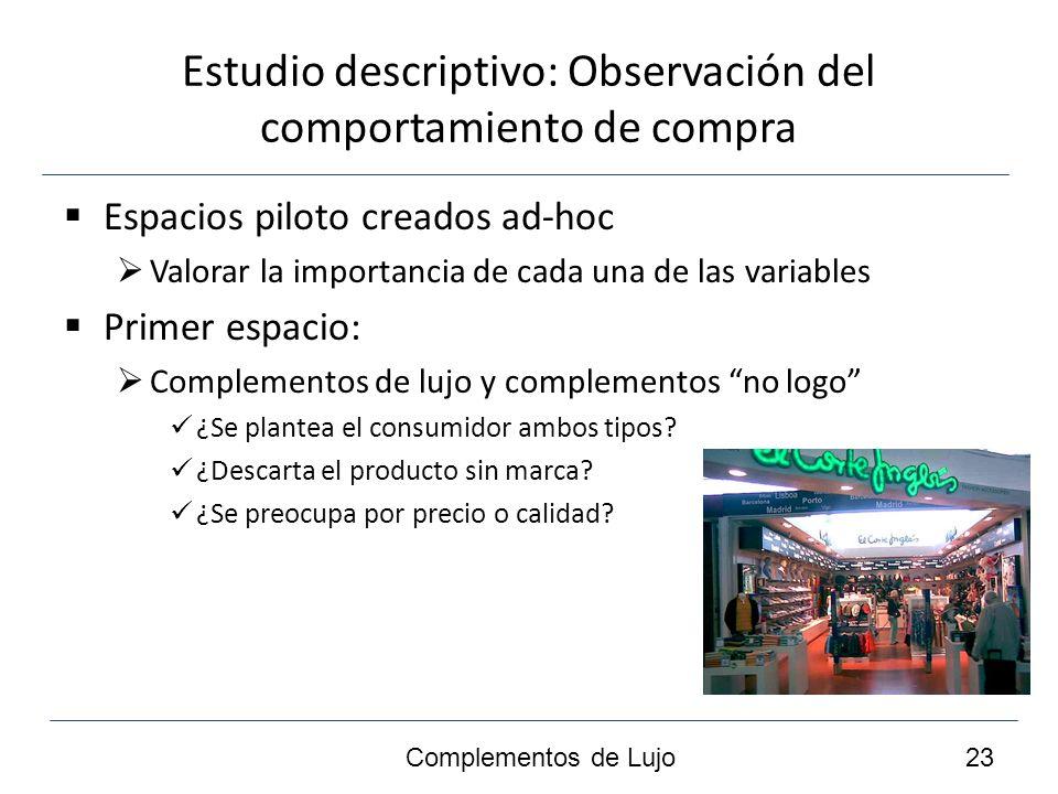 Estudio descriptivo: Observación del comportamiento de compra II Segundo espacio: Complementos de lujo con y sin respaldo de celebrities ¿Existen diferencias entre el comportamiento de compra de unos y otros.
