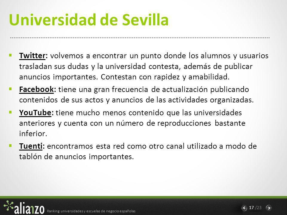 Ranking universidades y escuelas de negocio españolas 18 /23 Conclusiones Una de las mayores diferencias entre instituciones es la existencia o no de interacción con usuarios, en su mayoría alumnos.