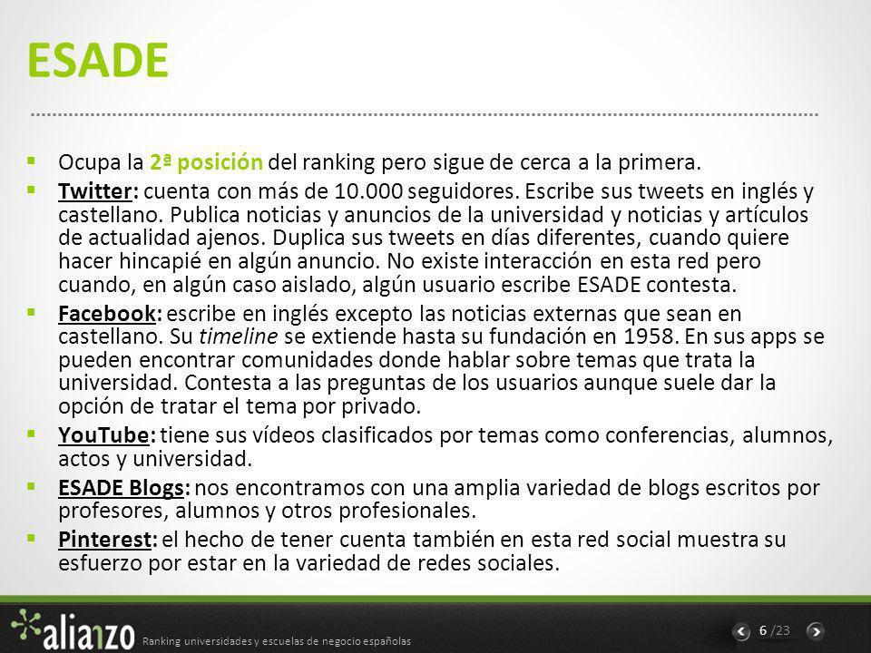 Ranking universidades y escuelas de negocio españolas 7 /23 Universidad Autónoma de Madrid Con 3ª posición en el ranking situándose por encima, a pocos puntos, de la Universidad Complutense de Madrid, que ocupa la 4ª posición.