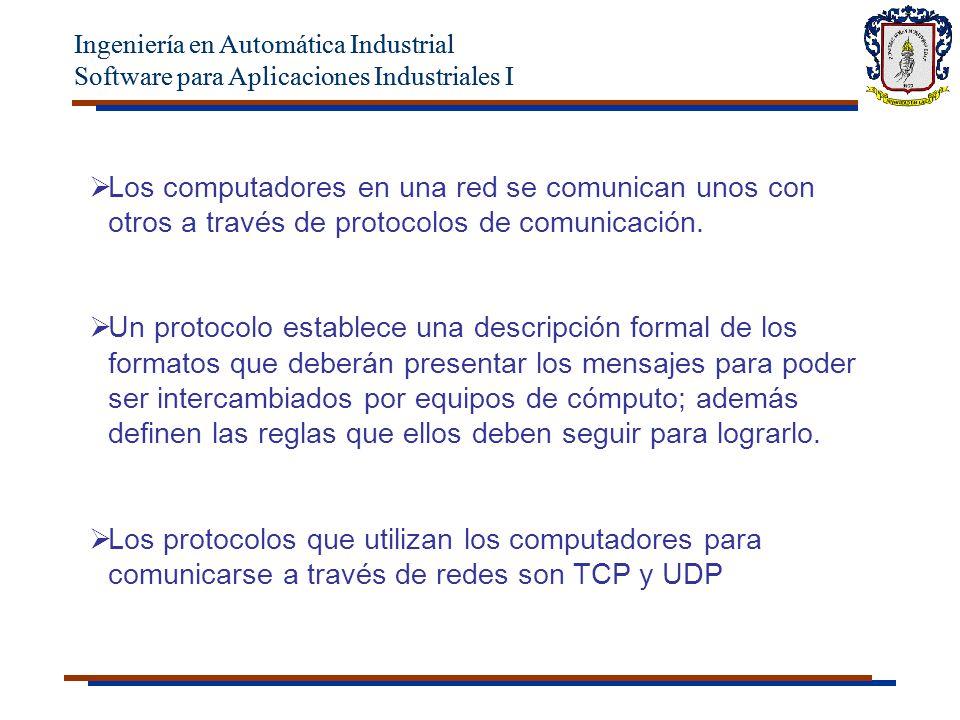 Ingeniería en Automática Industrial Software para Aplicaciones Industriales I Los protocolos están presentes en todas las etapas necesarias para establecer una comunicación entre equipos de cómputo, desde aquellas de más bajo nivel (p.e.